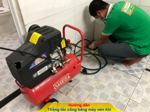Hướng dẫn cách thông tắc cống máy nén khí