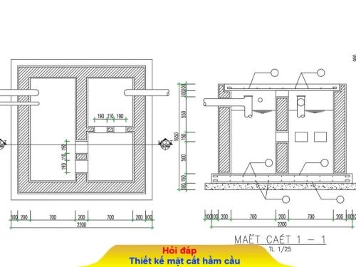 Hầm cầu hộ gia đình nên xây khoảng bao nhiêu khối?