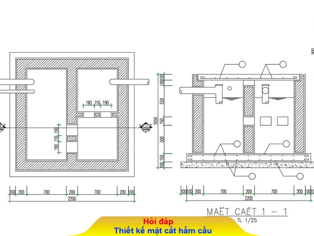 Bản vẽ hầm cầu 3 ngăn